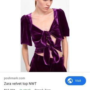 Zara velvet bow front closure top